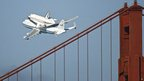 Endeavour passes over Golden Gate bridge in San Francisco (21/09/12)