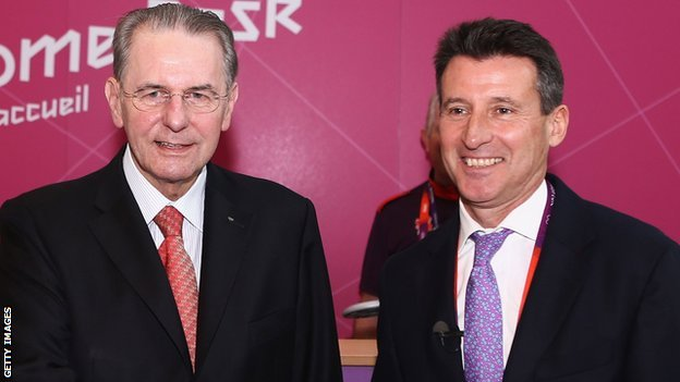 Jacques Rogge (left) and Seb Coe