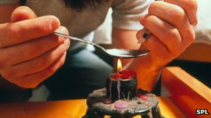 A heroin user prepares a fix