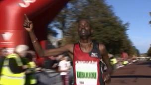 Half-marathon winner Andrew Lesuuda