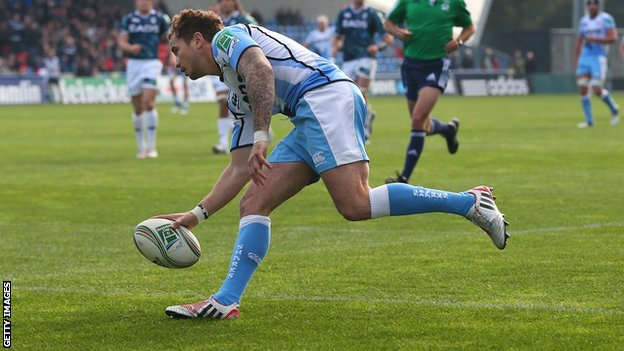 Danny Cipriani scores a try against Cardiff Blues