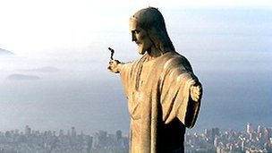 Felix Baumgartner preparing to jump of the Christ the Redeemer statue in Rio, 1999