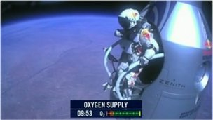 Felix Baumgartner, seconds before he jumps into the stratosphere