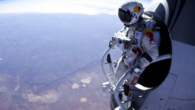 Skydiver Felix Baumgartner prepares to jump 24 miles high