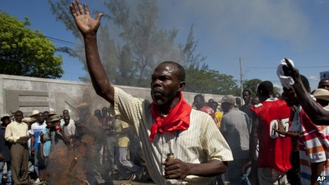 Haitians protest against President Martelly