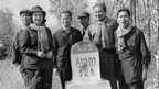 Sihanouk (2nd-r) and his wife Princess Monique (2nd-l) pose 19 April 1973 with Khieu Samphan (3rd-l), top Khmer Rouge leader