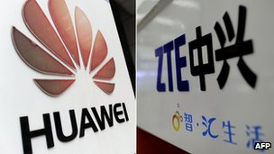 Composite of Huawei and ZTE's logos