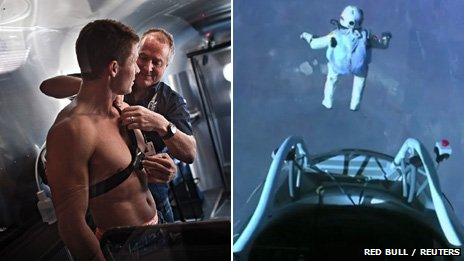 Felix Baumgartner with monitor, and skydiving