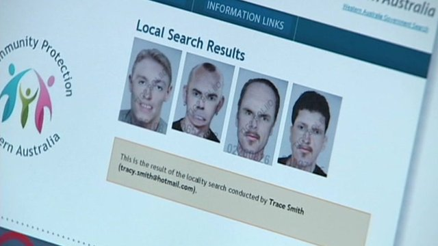 Dummy webpage of sex offenders' register