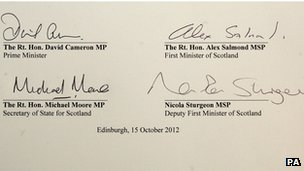 The referendum agreement signed by David Cameron, Alex Salmond, Michael Moore and Nicola Sturgeon