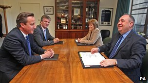 David Cameron, Michael Moore, Nicola Sturgeon and Alex Salmond