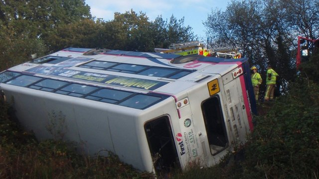 Scene of bus crash