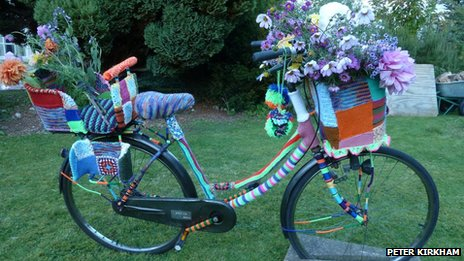 Bicycle covered in knitting