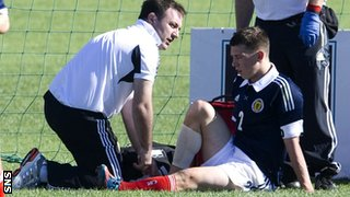 Jack lies injured while on Scotland Under-21 duty