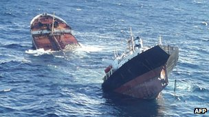 Prestige ship breaking up in the Atlantic ocean