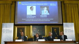 The presentation of the 2012 Nobel Memorial Prize in Economic Sciences, with the winners Alvin Roth (left) and Lloyd Shapley pictured above