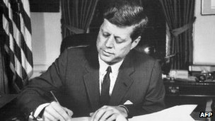 US President John F Kennedy signs the Cuban naval blockage order *24 Oct 1962)