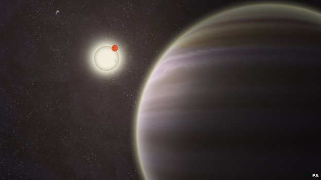 An artist's impression of PH1 with its suns.