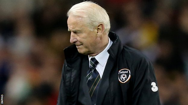 Giovanni Trapattoni turns away after Germany's fourth goal in Friday's 6-1 hammering in Dublin