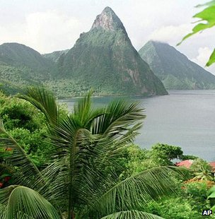 The Pitons, two large peaks that are the cone remnants of long-dormant volcanoes