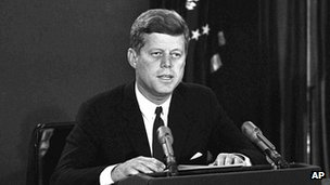 President John F. Kennedy makes a national television speech October 22, 1962, from Washington
