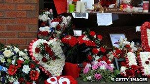 Flowers to the 96 victims of Hillsborough outside Anfield