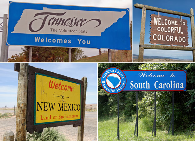 Welcome signs to US states - Tennassee (Volunteer State), Colorado (Colourful), South Carolina (Smiling Faces, Beautiful Places) and New Mexico (Land of Enchantment)