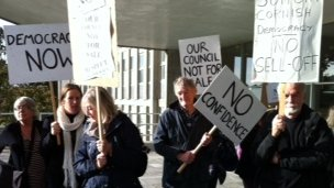 Protest group outside County Hall