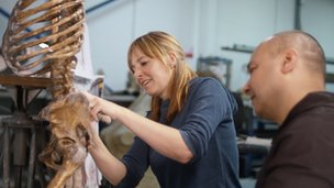 Professor Alice Roberts assembles the Neanderthal skeleton