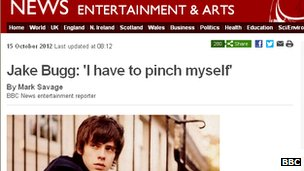 Jake Bugg story from BBC News website