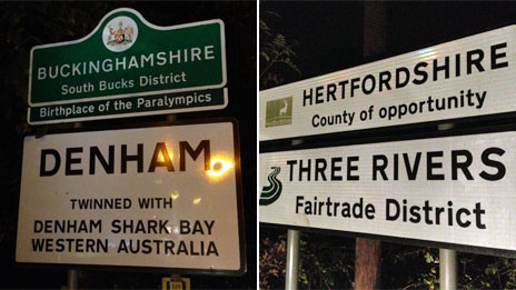 Buckinghamshire sign, and Hertfordshire sign - County of opportunity