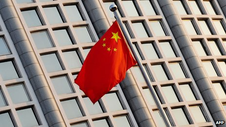 Chinese flag outside foreign ministry in Beijing