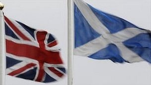Union flag and Scottish Saltire