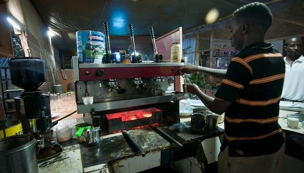 Charcoal powered coffee machine in Mogadishu