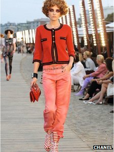 Model wearing Chanel clothing made by Barrie Knitwear