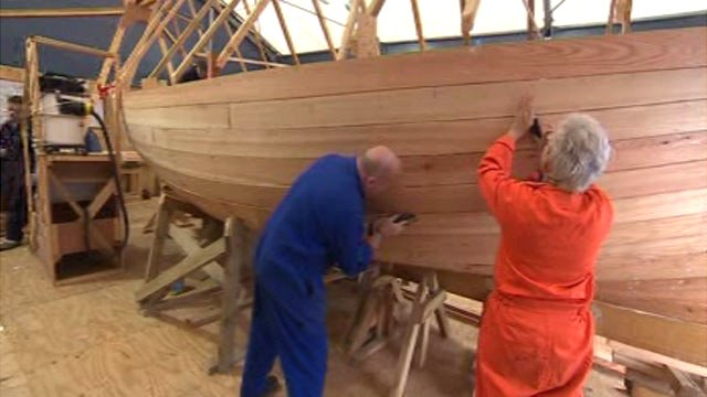 Lugger being built