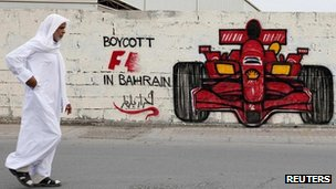 Anti-Bahrain Grand Prix graffiti