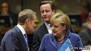 Donald Tusk, David Cameron and Angela Merkel