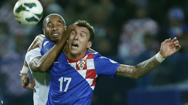 Wales&#039; Ashley Williams challenges Croatia goal-scorer Mario Mandzukic