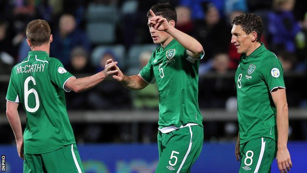 The Republic of Ireland celebrated a 4-1 win away to the Faroe Islands