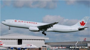 Air Canada plane lands at Heathrow Airport, London (file picture)