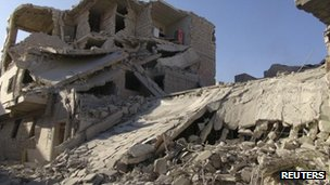 Damaged buildings in Marat al-Numan