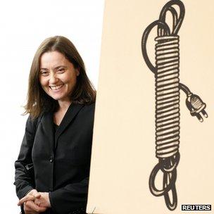 """Barbara Castelli with Lichtenstein's """"Electric Cord"""". 16 Oct 2012"""