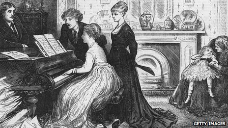 An 1870 image of a family by a piano