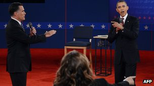 Romney and Obama at debate