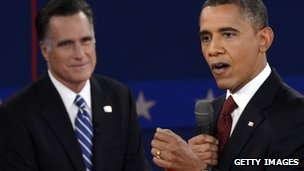 Romney and Obama at debate