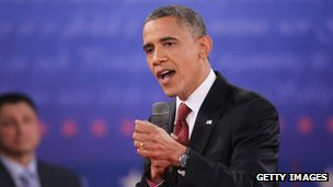 US President Barack Obama speaks during a town hall style debate at Hofstra University in Hempstead, New York 16 October 2012