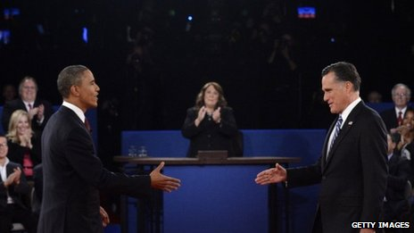 Barack Obama and Mitt Romney at the Hofstra debate 16 October 2012
