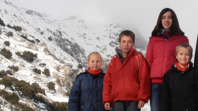 Jessica, 14, Tomas, 12, Eva, nine, and David Palacin Jones, eight