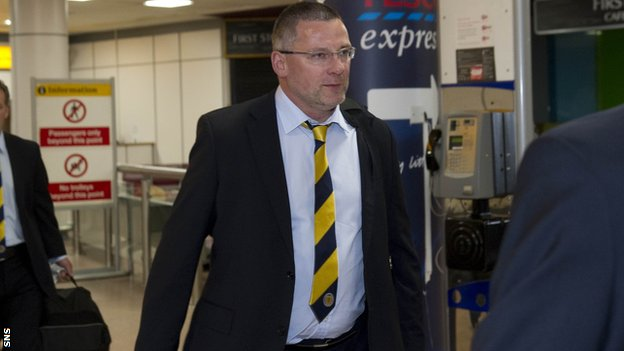 Scotland coach Craig Levein arrives back at Glasgow Airport